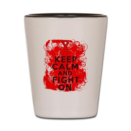 Blood Cancer Keep Calm Fight On Shot Glass