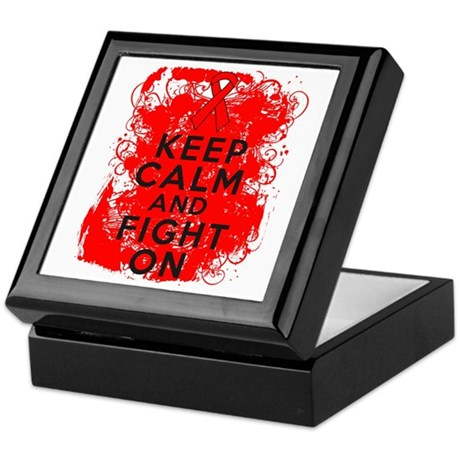 Blood Cancer Keep Calm Fight On Keepsake Box