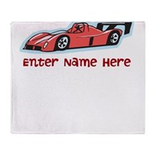Personalized Racecar Throw Blanket