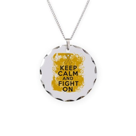Appendix Cancer Keep Calm Fight On Necklace Circle