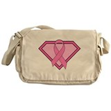 Superhero Shield Pink Ribbon Messenger Bag