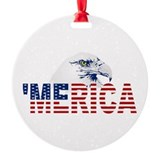 MERICA Flag American Bald Eagle Round Ornament