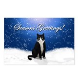 Tuxedo Cat Seasons Greetings Postcards (Pkg of 8)