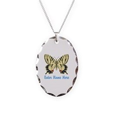 Personalized Butterfly Necklace Oval Charm