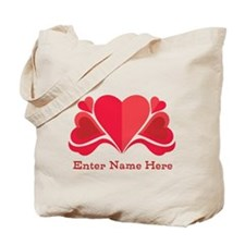 Personalized Hearts Tote Bag