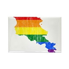 Armenia Rainbow Pride Flag And Map Rectangle Magne