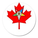 OES Canadian Maple Leaf Round Car Magnet
