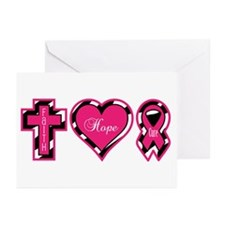 Pink Zebra Faith Hope Cure Greeting Cards (Pk of 1