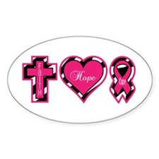 Pink Zebra Faith Hope Cure Decal
