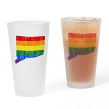 Connecticut Rainbow Pride Flag And Map Drinking Gl