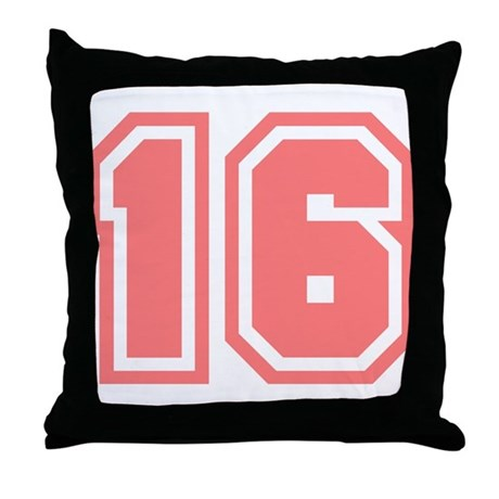 Varsity Uniform Number 16 (Pink) Throw Pillow by bluegreenred