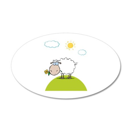 Sheep 38.5 x 24.5 Oval Wall Peel