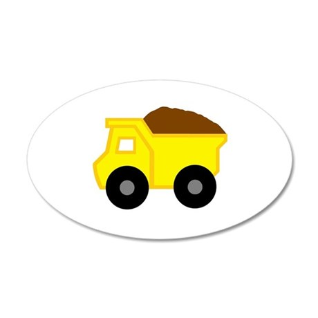 Yellow Dump Truck Small 20x12 Oval Wall Decal