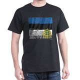 Silky Flag of Estonia Black T-Shirt