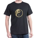 Gold Yin Yang Black T-Shirt