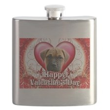 Happy Valentines Day Bull Mastiff.png Flask