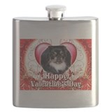 Happy Valentines Day Pekingnese.png Flask