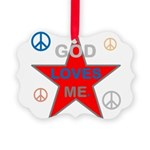 OYOOS God Loves Me design Picture Ornament