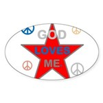 OYOOS God Loves Me design Sticker (Oval 10 pk)