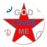 OYOOS God Loves Me design Round Car Magnet
