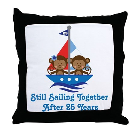 25th Anniversary Sailing Throw Pillow