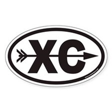 Cross Country Running XC Euro Oval Sticker with Ar