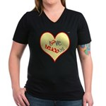 OYOOS Love Heart design Women's V-Neck Dark T-Shir