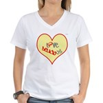 OYOOS Love Heart design Women's V-Neck T-Shirt