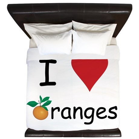 I Love Oranges King Duvet