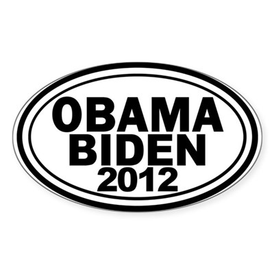 Obama-Biden 2012 Oval bumper sticker in classic black and white