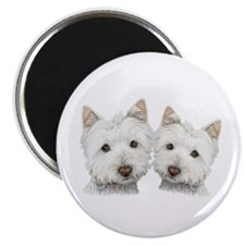 "Two Cute West Highland White Dogs 2.25"" Magne"