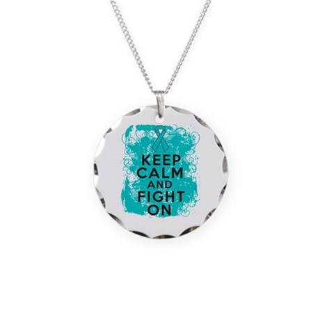PCOS Keep Calm Fight On Necklace Circle Charm