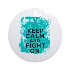 PKD Keep Calm Fight On Ornament (Round)