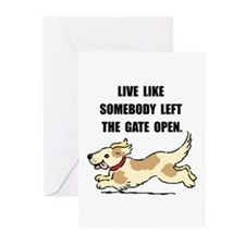 Dog Gate Open Greeting Cards (Pk of 20)