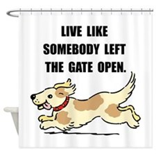 Dog Gate Open Shower Curtain