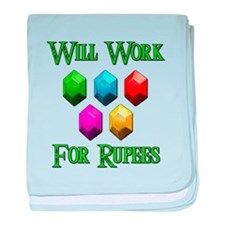 Will Work For Rupees baby blanket