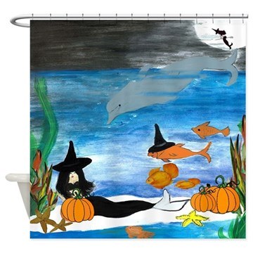 halloween mermaid shower curtain