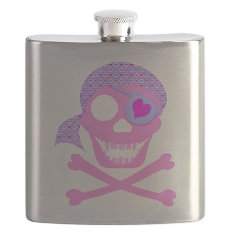 Pink Pirate Skull Flask