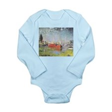 Red Boats at Argenteuil Long Sleeve Infant Bodysui