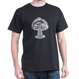 Abstract Mushroom Black T-Shirt