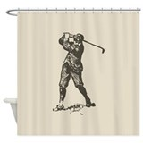 Retro Golfer Shower Curtain
