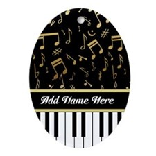 Personalized Piano Keys and Gold Music Notes Ornam