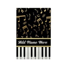 Personalized Piano Keys and Gold Music Notes Recta
