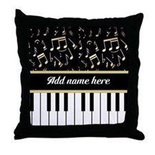 Personalized Piano Keys and Gold Music Notes Throw