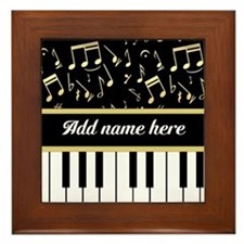 Personalized Piano and musical notes Framed Tile
