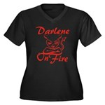 Darlene On Fire Women's Plus Size V-Neck Dark T-Sh