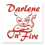 Darlene On Fire Square Car Magnet 3