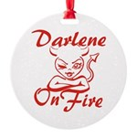Darlene On Fire Round Ornament
