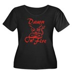 Dawn On Fire Women's Plus Size Scoop Neck Dark T-S