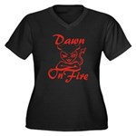 Dawn On Fire Women's Plus Size V-Neck Dark T-Shirt